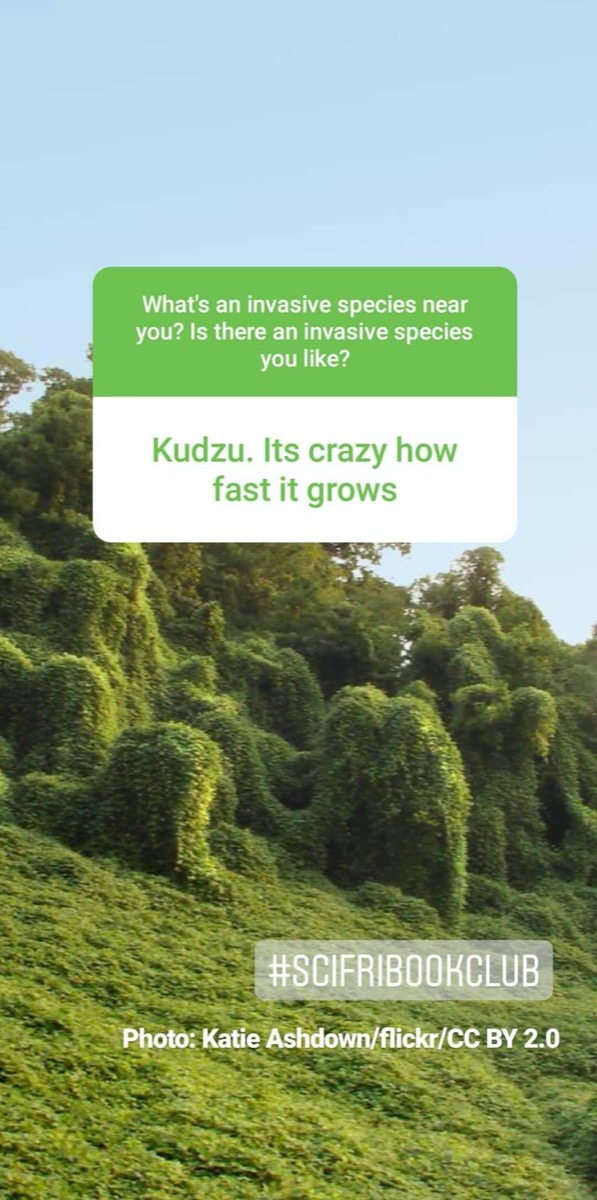 """a screenshot of an instagram story. in the background is a landscape covered in thick green vines. text reads """"kudzu. its crazy how fast it grows."""""""