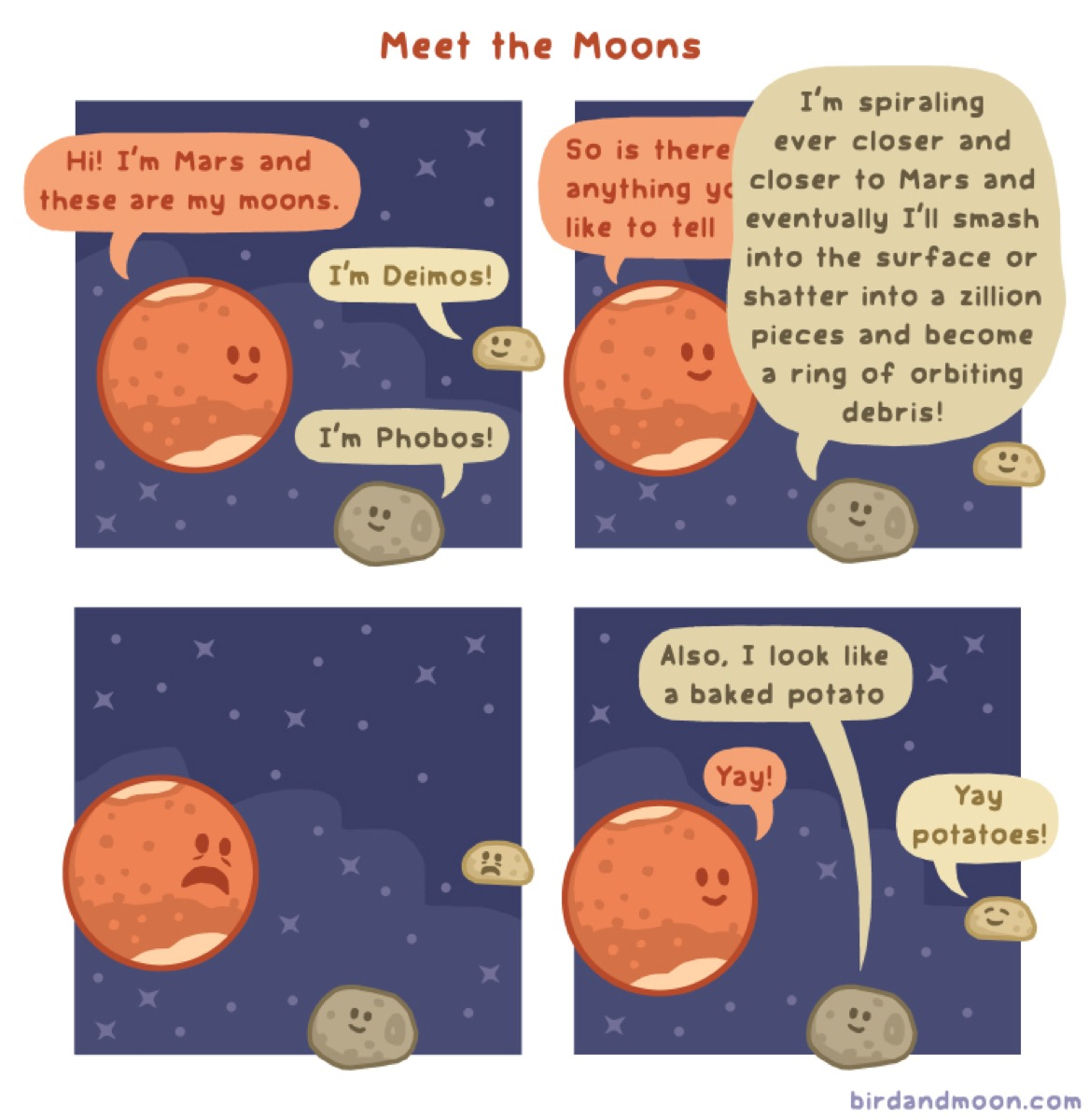 "a colored comic of mars and its moons. title: meet the moons. panel one: mars says ""hi! i'm mars and these are my moons."" one moon says ""I'm deimos."" the other moon says ""I'm phobos."" panel 2: mars says, ""so is there anything you like to tell.."" and phobos says ""i'm spiraling ever closer and closer to mars and eventually i'll smash into the surface or shatter into a zillion pieces and become a ring of orbiting debris."" panel 3: mars and deimos look scared while phobos just smiles. panel 4: phobos says ""also i look like a baked potato."" mars says ""yay"" and deimos says ""yay potatoes!"""