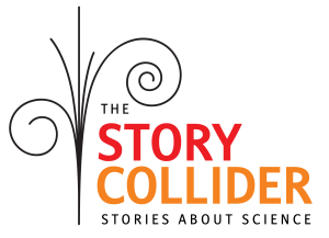 logo for the story collider, stories about science, featuring an abstract flourish to the left of the company name and tagline