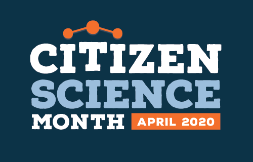 citizen science month, april 2020 logo with dark blue background and atomic structure-like graphic connecting the dots over the i's