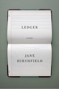 """a book cover that shows an open book with thin cartography lines. it reads """"ledger, poems"""" by jane hirshfield"""