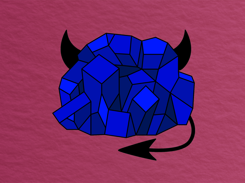 bright blue rock with devil horns against a red papery background
