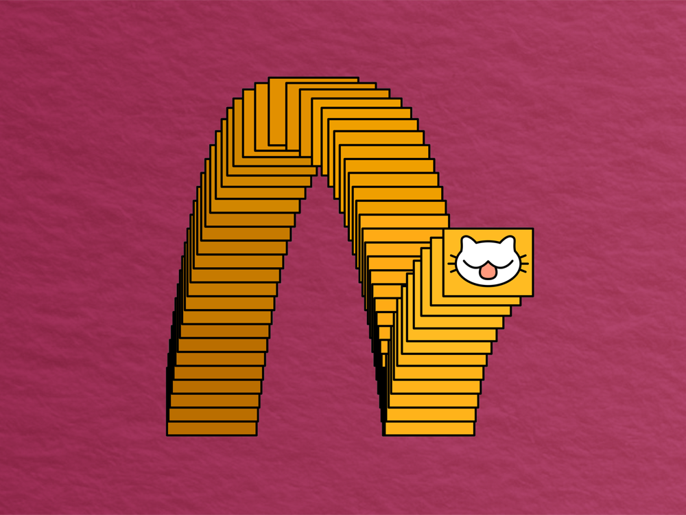 textured red background with replicating square featuring a cartoon cat face