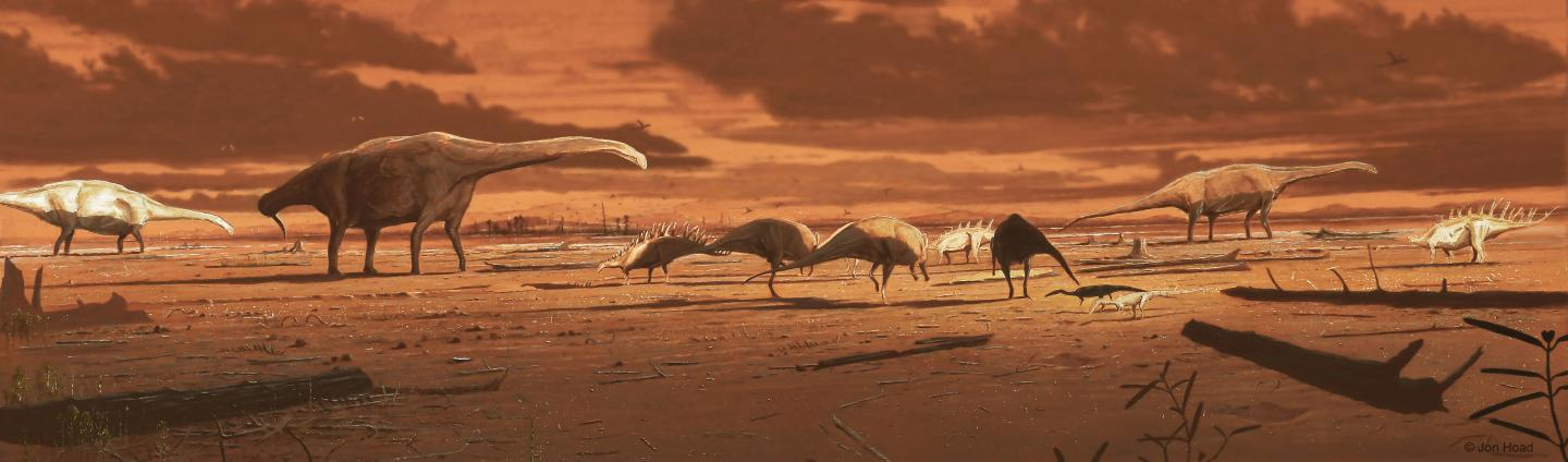 a colored illustration of dinosaurs in a desert like environment
