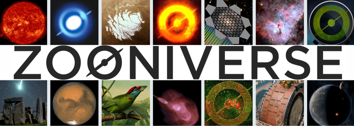 a poster that says 'zooniverse' with many pictures of space and nature