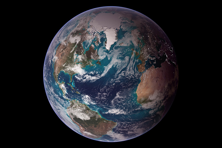 a colored image of the whole earth from space