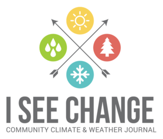 "a logo with two arrows crossing each other forming an X. four dots surround it with images of water drops, a sun, tree, and snowflake. underneath is ""I see change: community climate and weather journal"""