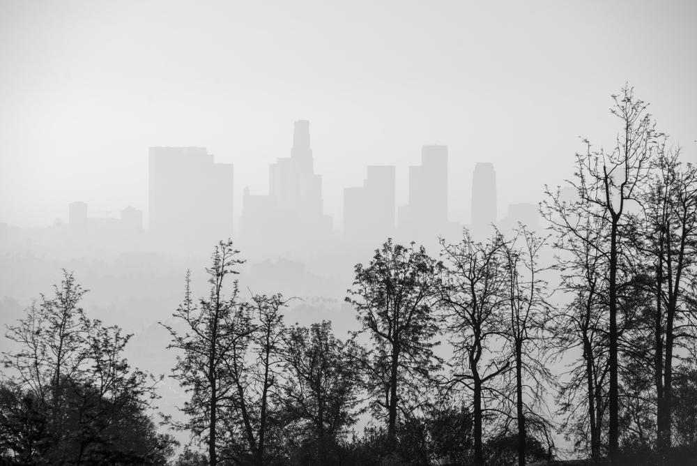 Hazy View of Downtown Los Angeles Skyline