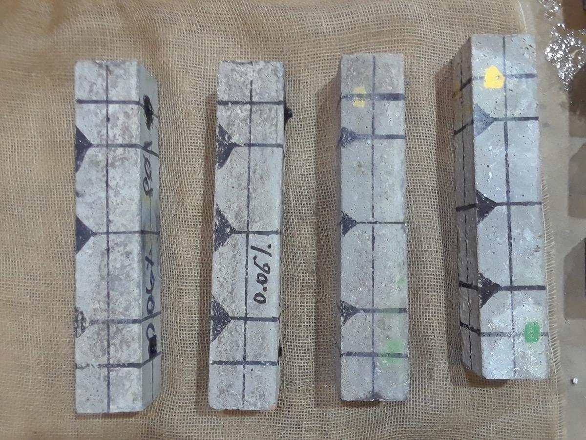four thin blocks of concrete