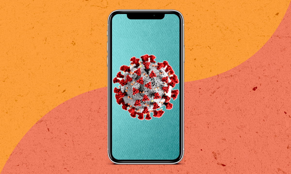 a graphic of a smartphone showing the illustration of the coronavirus on a red and orange background