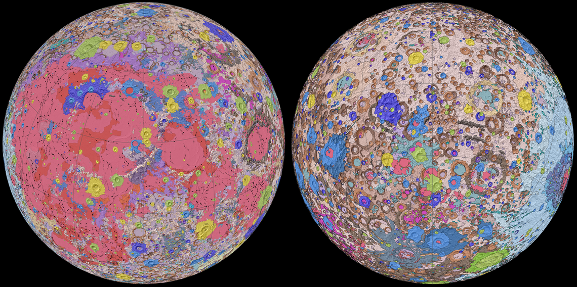 two map representations of the moon with false color