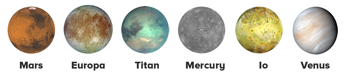 Mars, Europa, Titan, Mercury, Io, and Venus