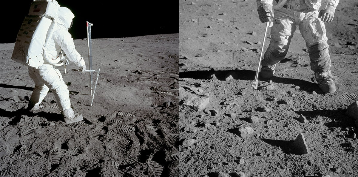 Two astronauts collecting samples during missions to the Moon. Buzz Aldrin takes a core sample during the moon during Apollo 11 mission (left) and Pete Conrad collects a rock sample with a pair of tongs during the Apollo 12 mission (right)