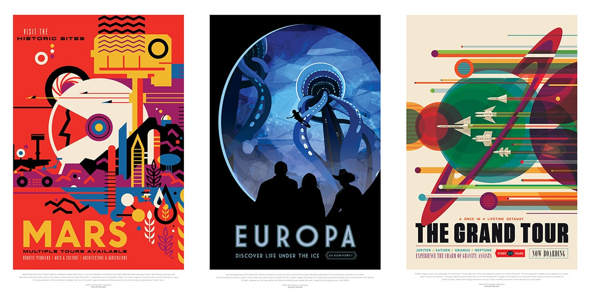"Left, red poster ""Visit the historic sites of Mars"" line images of water droplets and the Mars rover. Center, black poster with blue center where a underwater diver swims ""Europa : Discover Life Under the Ice."" Right, cream poster with rockets of many different colors fly horizontally with streaks ""The Grand Tour, Jupiter/Saturn/Uranus/Neptune"""