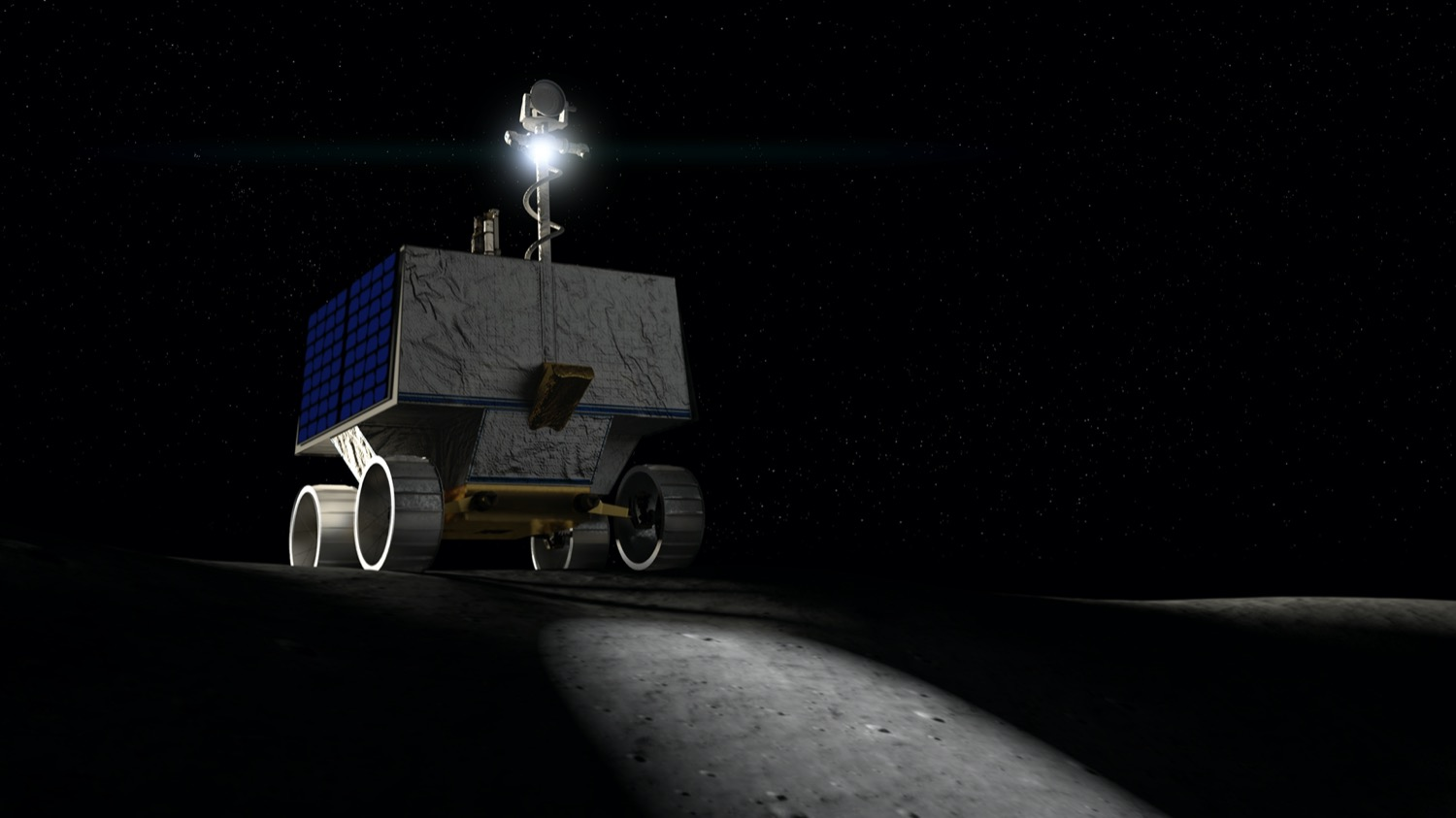 a cgi image of a boxy rover on the moon with a flashlight