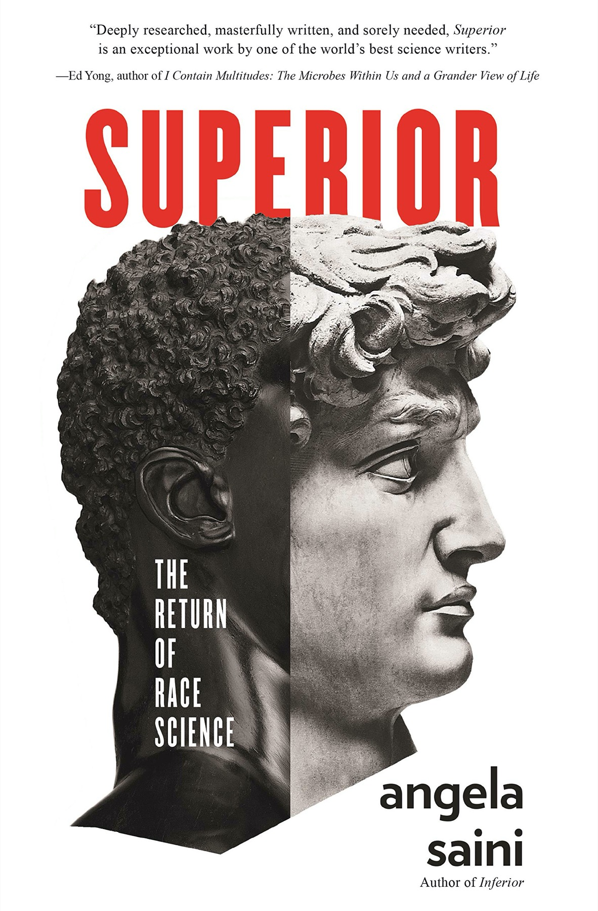 "a book cover with a greek statue bust that says ""Superior: The Return of Race Science"""