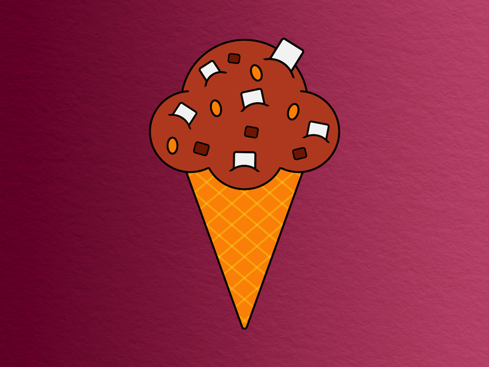 cartoon chocolate ice cream cone with marshmallow and nut chunks against a wine-colored background with paper texture