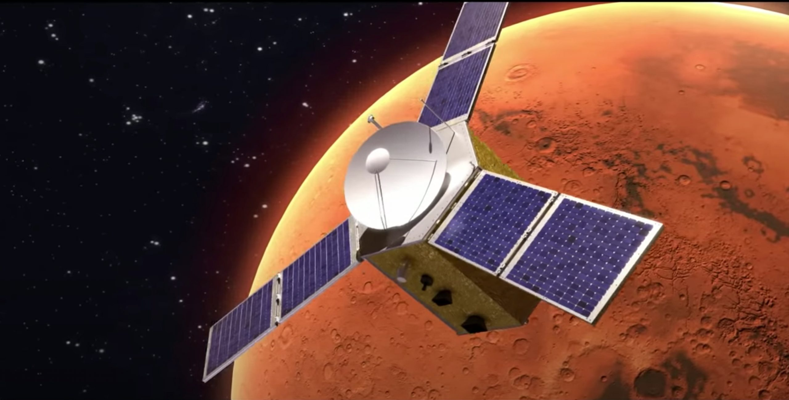 an illustration of a satellite with three solar panelled wings in orbit above mars