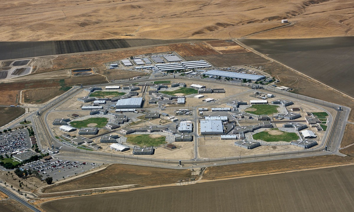 an overhead shot of a bunch of buildings, avenal state prison