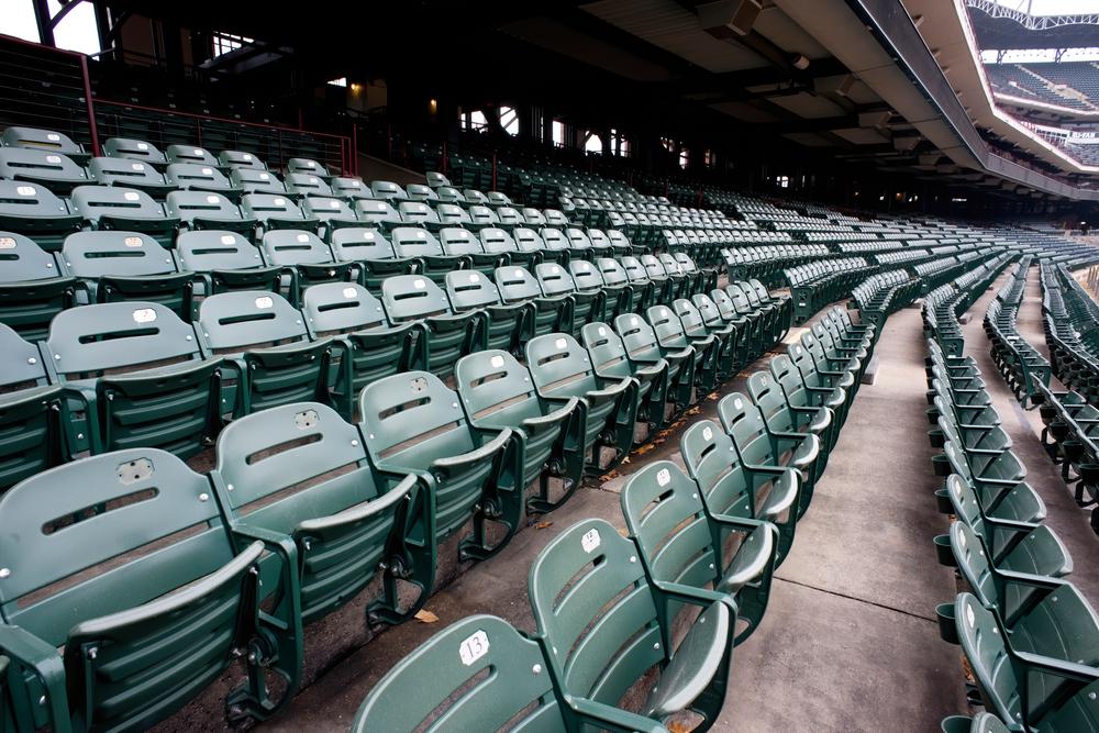 Empty sports stadium during the virus pandemic
