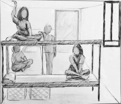 a sketch of four female figures in a bunk style cell
