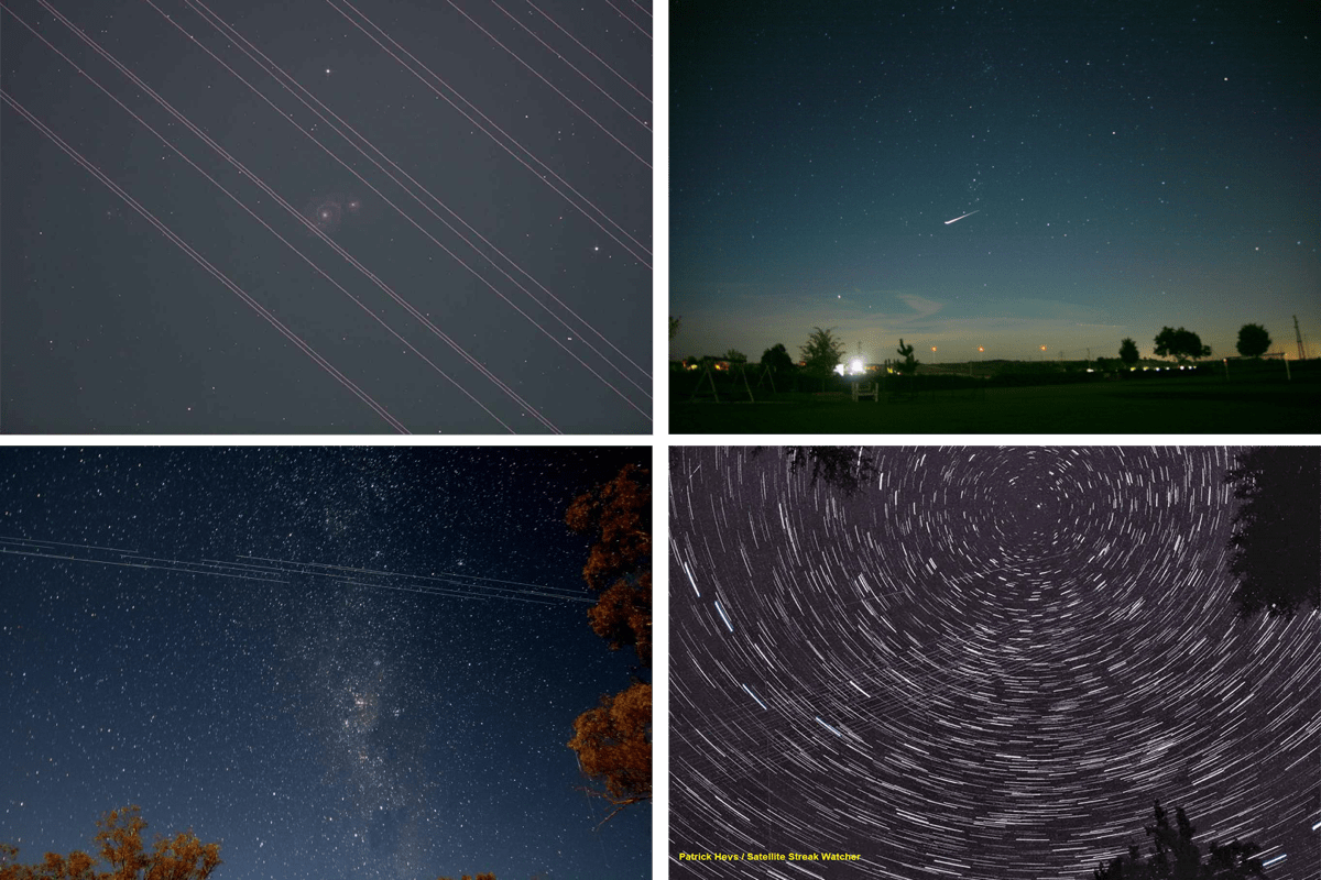 four images collaged together. they are of the night sky, showing white streaks from satellites