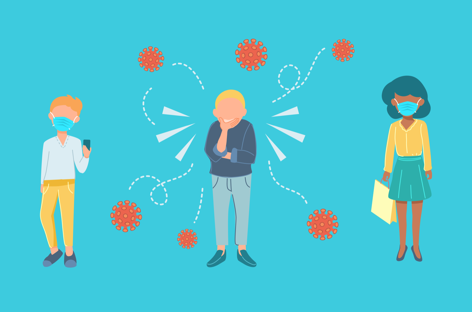 illustration of three people, the one in the center coughing, expelling virus particles, while the two people on either side wearing masks