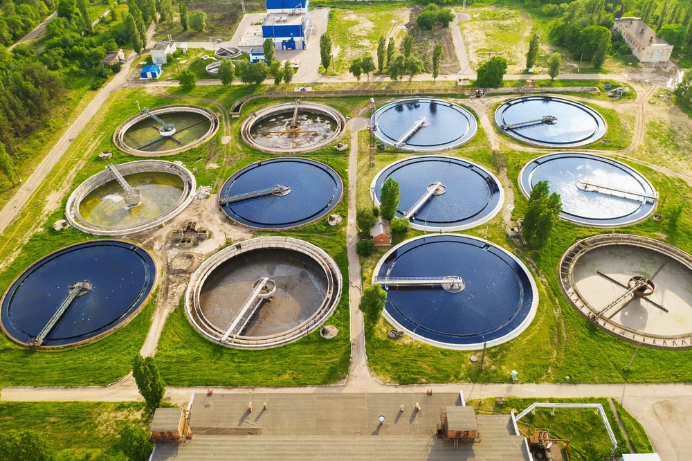 Modern Wastewater Treatment Plant, aerial view