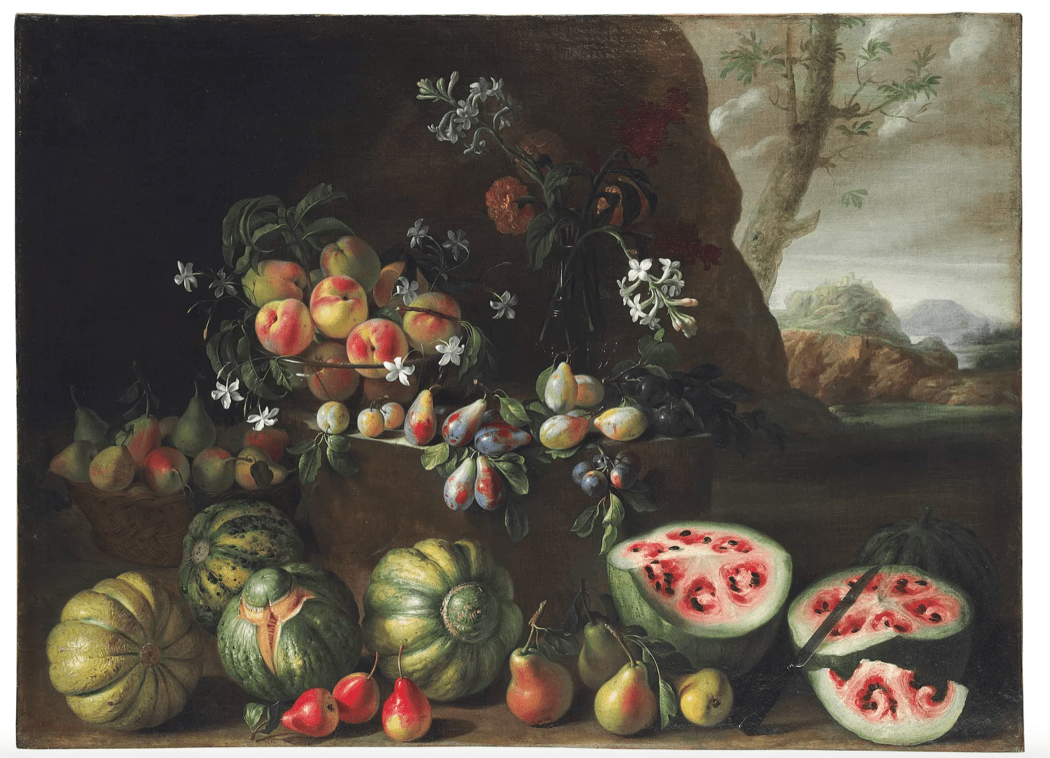 an old painting of a collection of fruit, including watermelons, which look familiar, but different