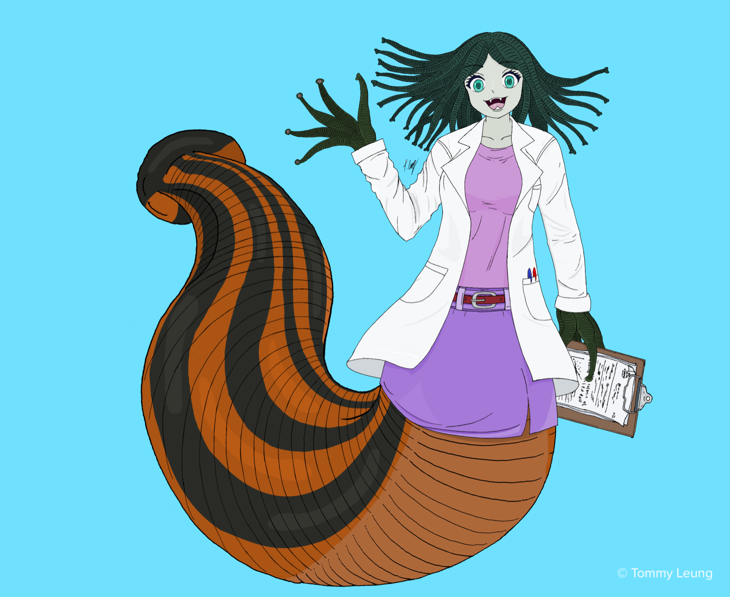 a colored illustration of a monster girl with sucker fingers and leech body, wearing a doctor's lab coat and holding a clipboard