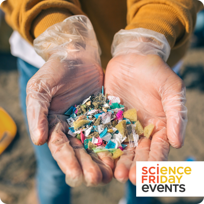 """two gloved hands hold a small pile of microplastics mixed with sand on a beach; a tag with """"science friday events"""" in the bottom right corner"""
