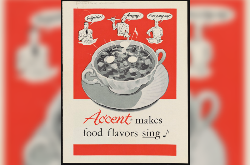 """old advertisement on yellowing paper featuring a giant soup bowl and several chefs around it saying things like """"amazing!"""" and """"delightful!"""""""
