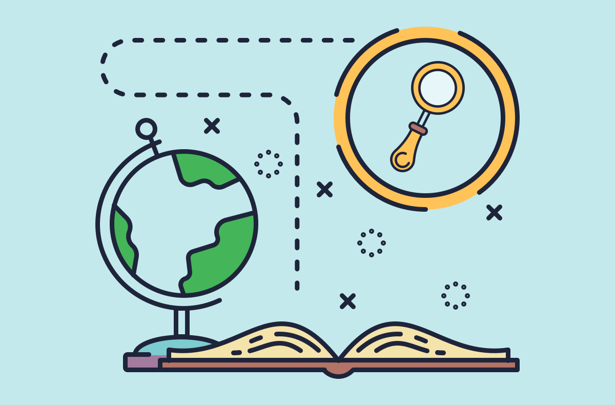 an illustration with a book, a globe, with a line leading from the book to the magnifying glass
