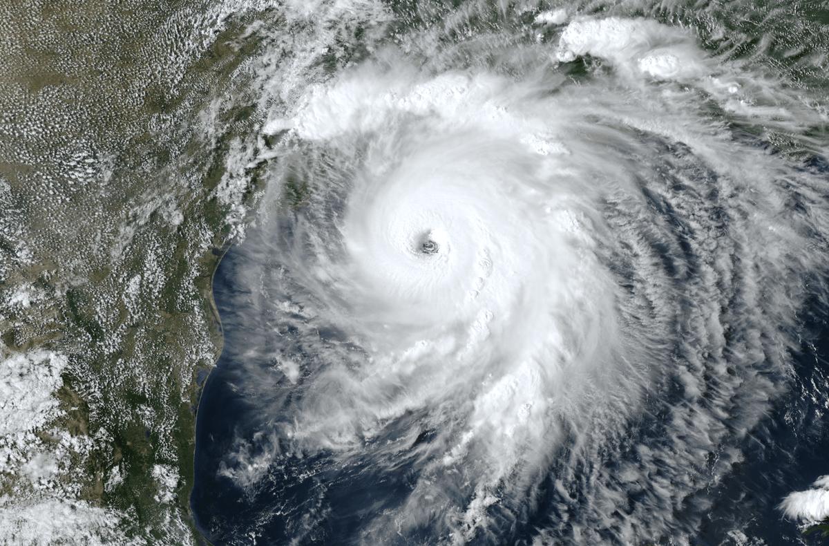 a satellite view of hurricane laura