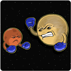 an illustration of the planets mars and venus, anthropomorphized with sneering faces and arms raised with blue boxing gloves on, floating on a black space with white dot stars background