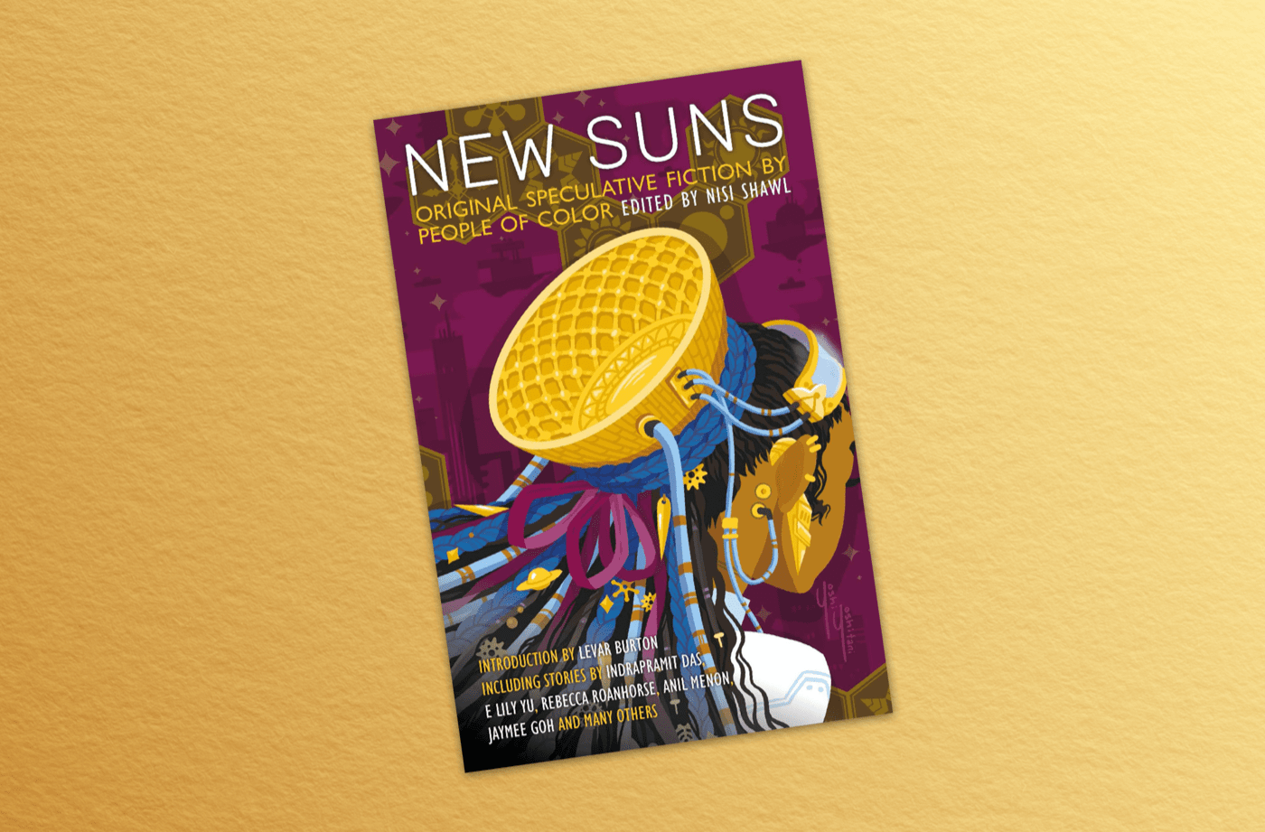 """a book cover that says """"new suns"""" with a black woman wearing a futuristic device on the back of her head"""