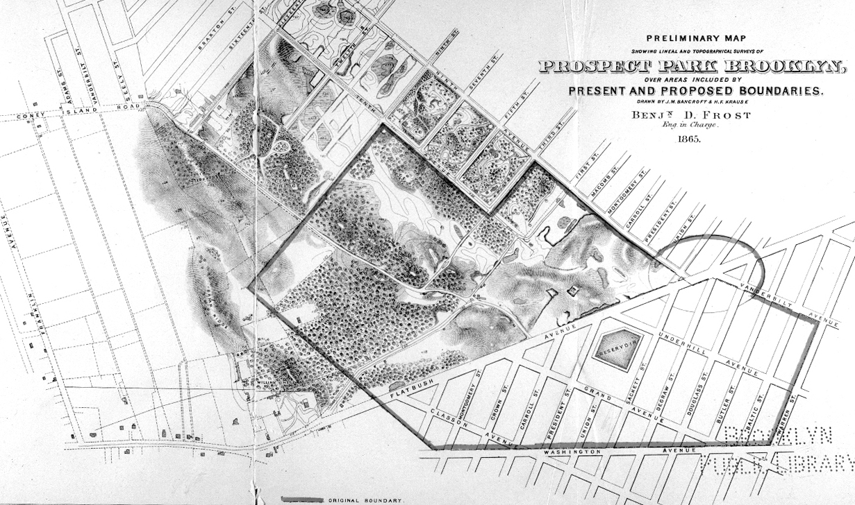 a map from the 1800s showing prospect park from above