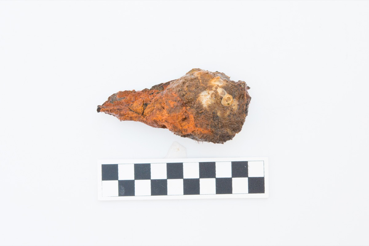 a crusted specimen covered in brine and brown corrosion