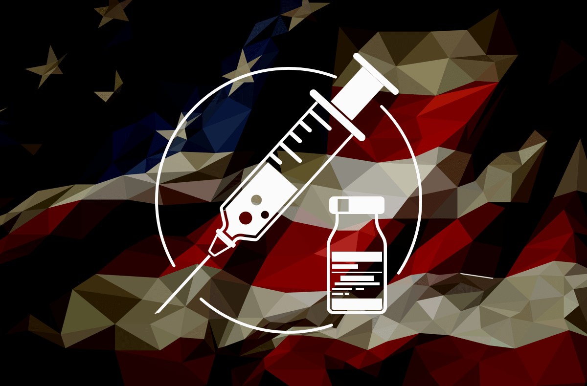an abstracted american flag with a vaccine design on top