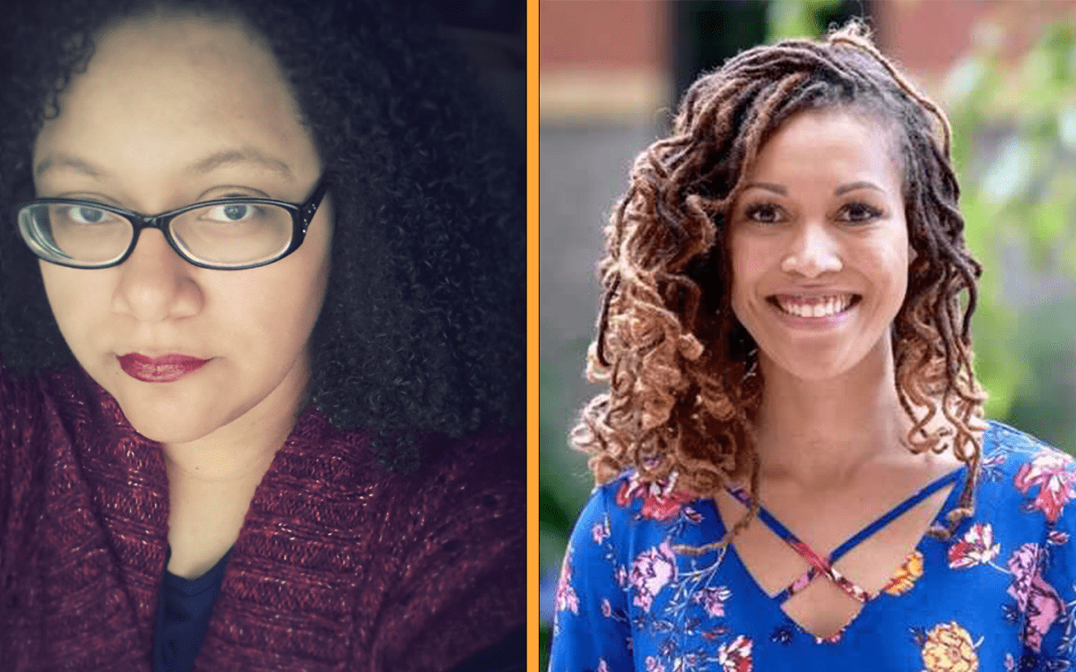 two profile pictures, on the left is a black woman with glasses and on the right is a black woman in a blue shirt. both are writers and authors
