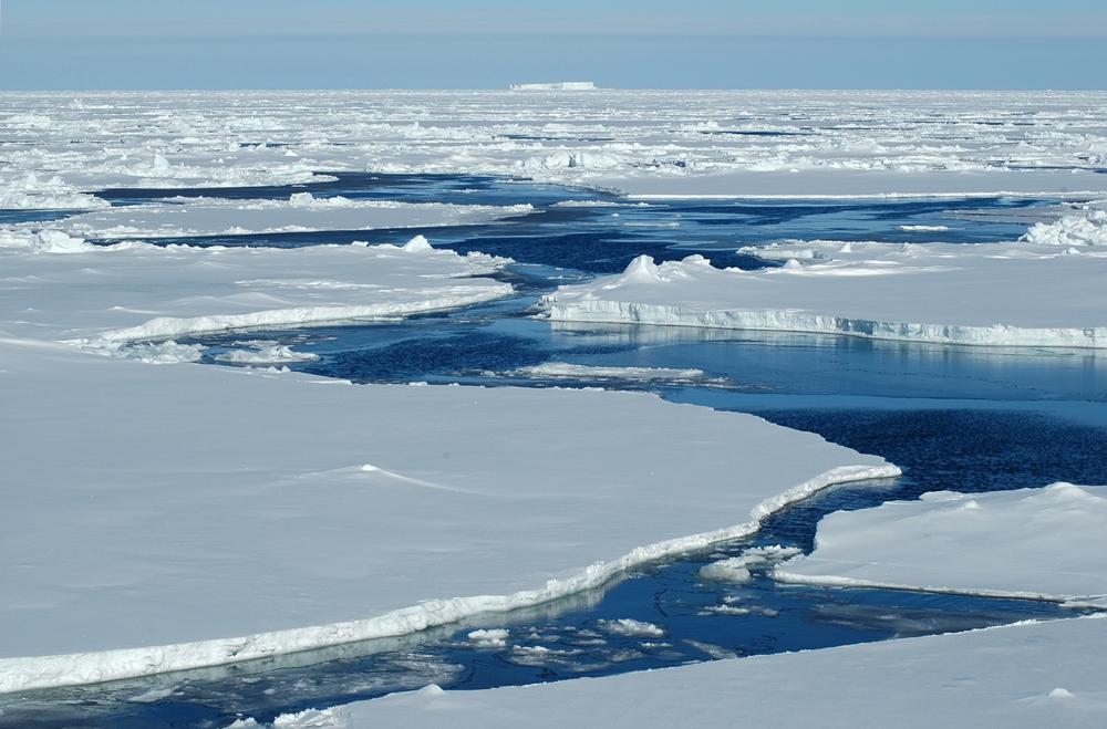 Open passage in pack ice in antarctica