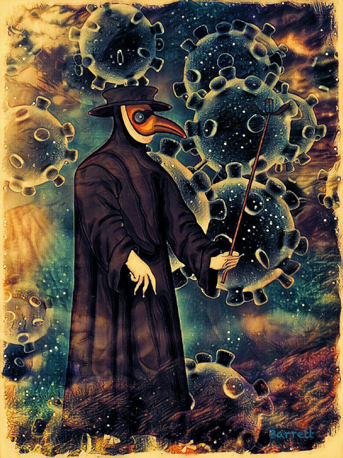 an abstract painting of an old time plague doctor with a bird mask with covid particles in the background