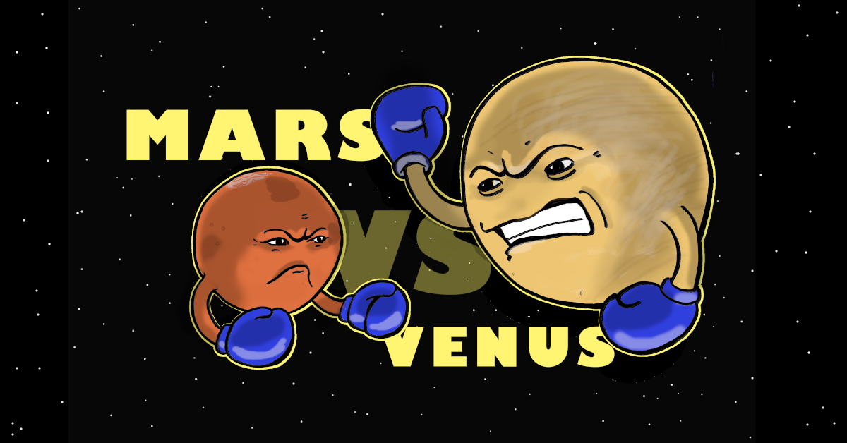 """an illustration of the planets mars and venus, anthropomorphized with sneering faces and arms raised with blue boxing gloves on, floating on a black space with white dot stars background. the words """"mars vs venus"""" are written between them"""