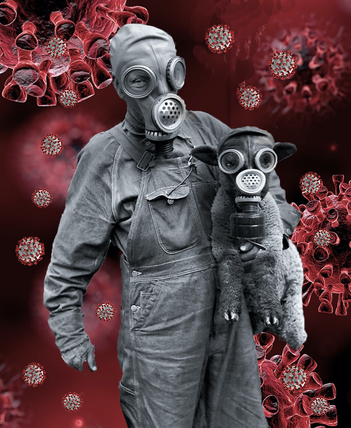 art of an image of a person in a gas mask carrying a lamb, also in a gas mask, superimposed over an abstract background of covid-19 particles