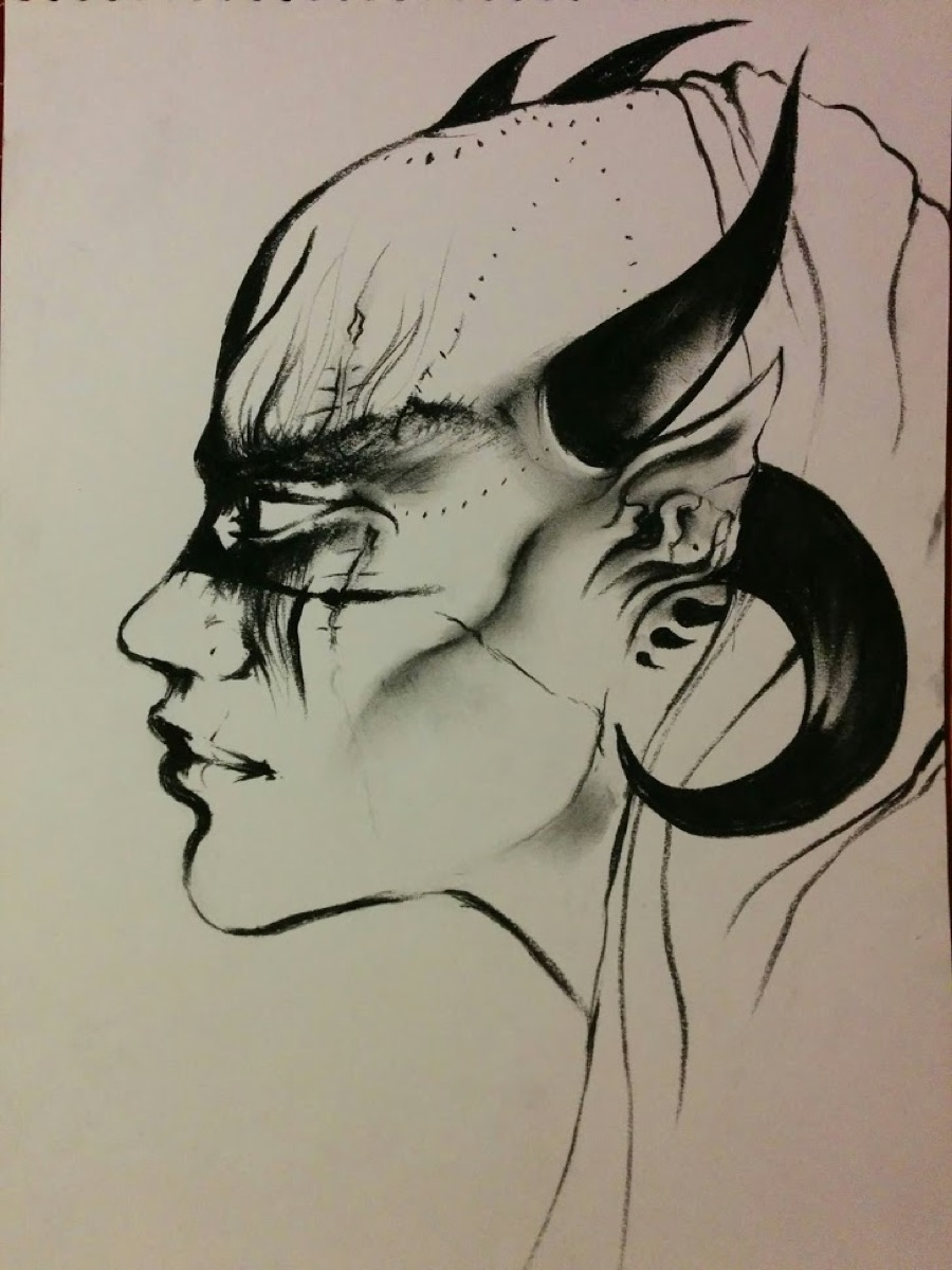"""an inked illustration of an """"alien"""" who has elegant horns and black shading over the eyes"""