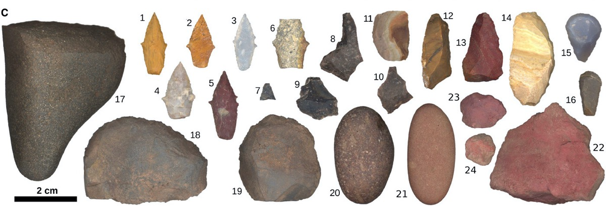 a collage of rock tools found from an archaeology dig. some of the rocks are pointed while others are more round