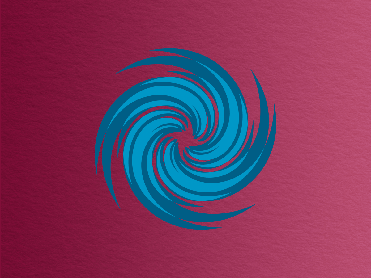 cartonnish light and dark blue swirling spiral with an eye at the center to look like a hurricane, all against a wine-colored background with a paper-like texture