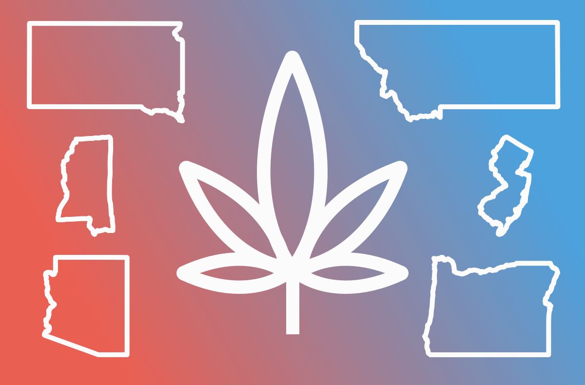 an abstract design of a marijuana leaf surrounded by the states montana, mississippi, arizona, oregon, south dakota, new jersey
