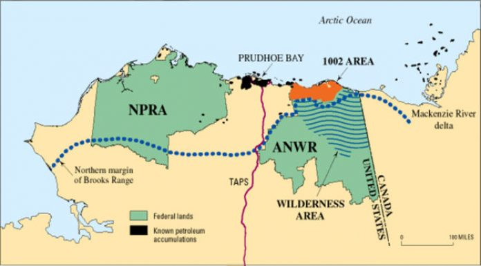 a colored map of the coast along the arctic national wildlife refuge. landmarks include NPRA, ANWR, denoting wilderness area inside ANWR