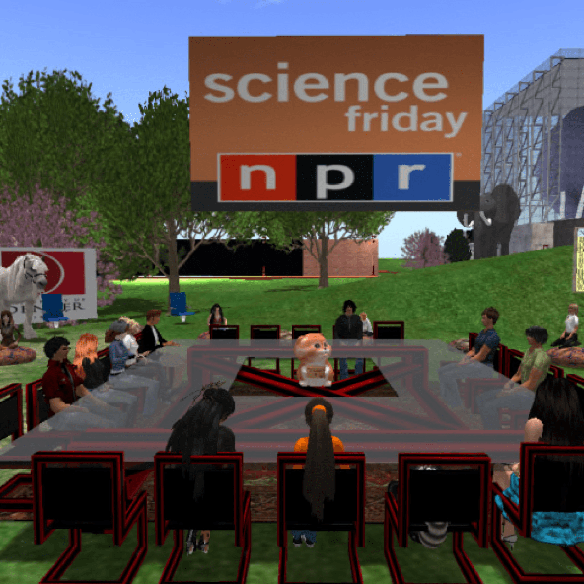 a virtual world of avatars sitting around a square glass table. in the middle of the table is a small dog. above them is a sign that reads science friday npr